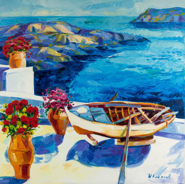 Greek House Painting - Summer In Santorini by Ivailo Nikolov