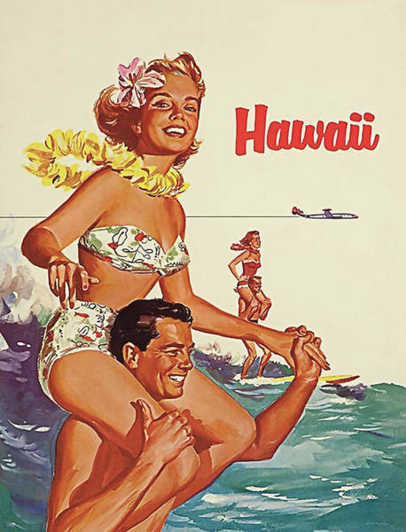 Honeymoon Painting - Summer Joys In Hawaii, Airline Poster by Long Shot