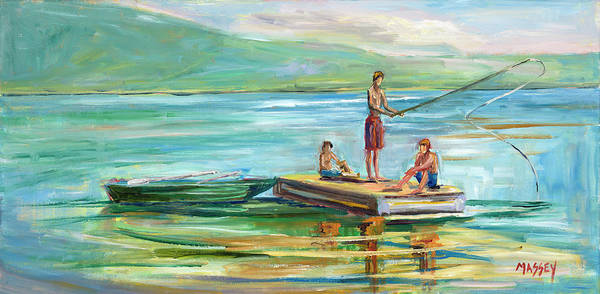 Thumb Painting - Summer Lake by Marie Massey