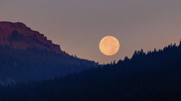Wall Art - Photograph - Summer Luna Setting In The Sierra Alpenglow by Mike Herron
