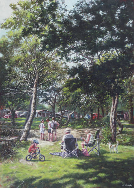 Wall Art - Painting - Summer New Forest Picnic by Martin Davey