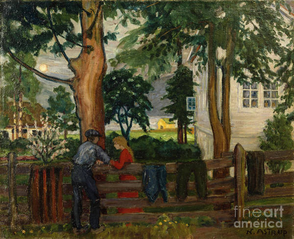 Nikolai Astrup Painting - Summer Night By The Garden Fence by by O Vaering