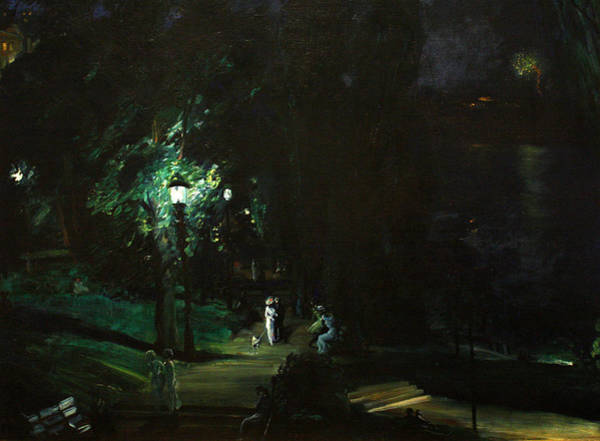Summer Night Riverside Drive Art Print