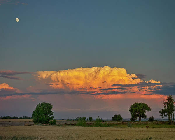 Photograph - Summer Night Storms Brewing And Moon Above by James BO Insogna