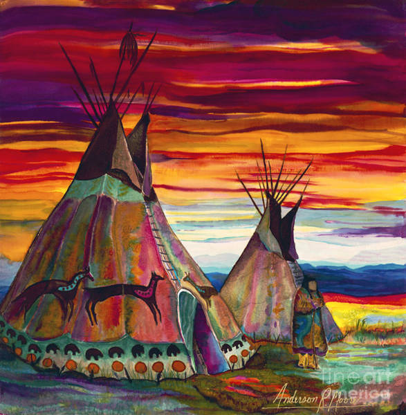 American Indians Painting - Summer On The Plains by Anderson R Moore