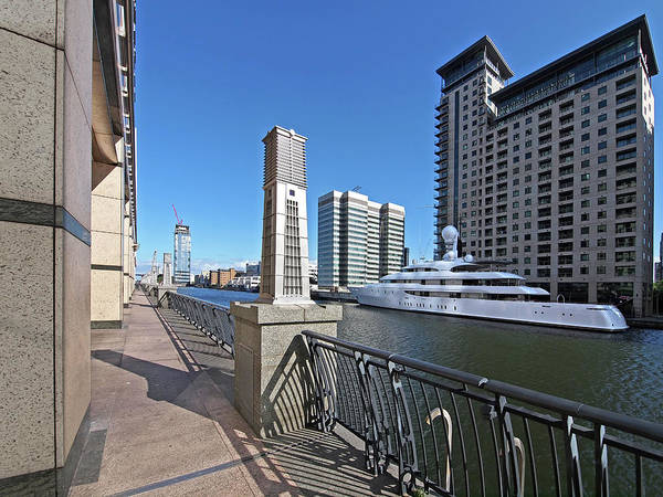 Photograph - Super Yacht Summer On The Thames At Canary Wharf by Gill Billington