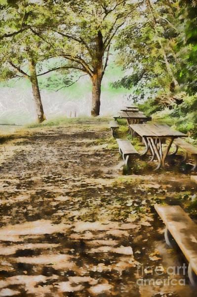 Park Bench Digital Art - Summer Park by Flamingo Graphix John Ellis