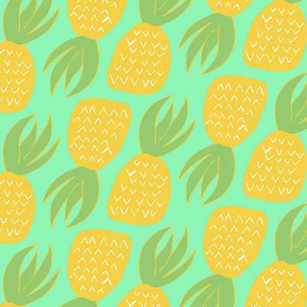 Pineapples Digital Art - Summer Pineapples by Allyson Johnson