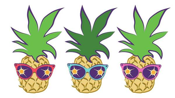 Digital Art - Summer Pineapples Wearing Retro Sunglasses by MM Anderson
