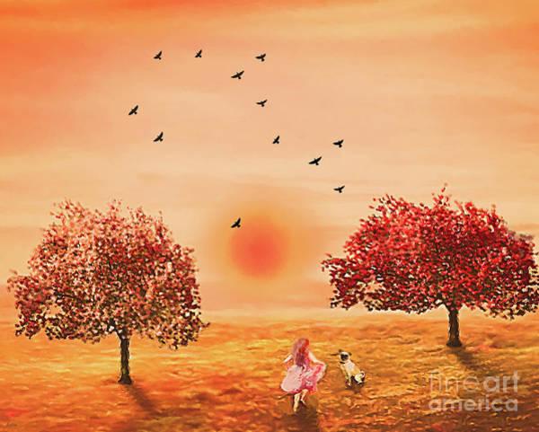 Blooming Tree Mixed Media - Summer Playmates  by KaFra Art