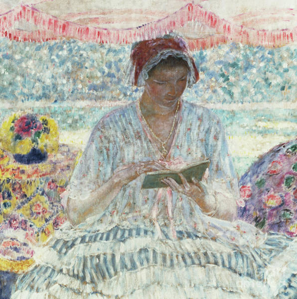 Turning Painting - Summer Reading  Under The Awning by Frederick Carl Frieseke