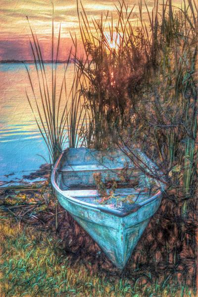 Photograph - Summer Rowboat At Dusk Painting by Debra and Dave Vanderlaan