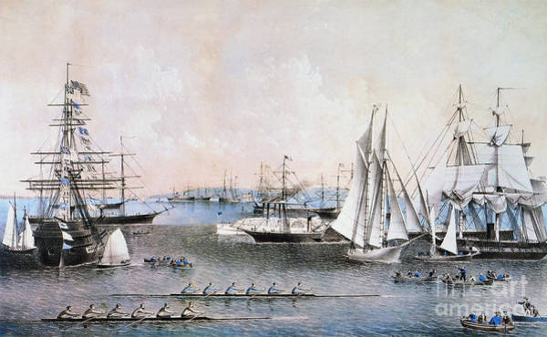 Painting - Summer Scene In Ny Harbor by Granger