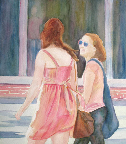 Mall Painting - Summer Shoppers by Jenny Armitage