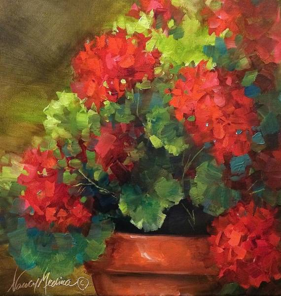 Medina Wall Art - Painting - Summer Siesta Geraniums by Nancy Medina