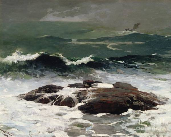 Wave Breaking Painting - Summer Squall by Winslow Homer