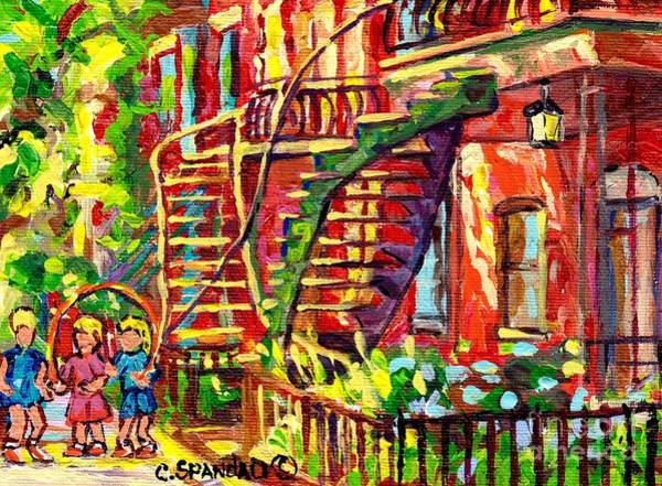 Painting - Summer Staircase Verdun Montreal To Plateau Mont Royal Canadian Cityscene 3 Girls Skipping C Spandau by Carole Spandau