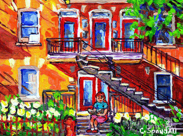 Painting - Summer Staircase Verdun Montreal To Plateau Mont Royal Cityscene Girl Reading Canadian Art C Spandau by Carole Spandau
