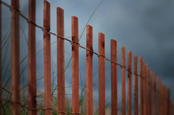 Wall Art - Photograph - Summer Storm Beach Fence by Laura Fasulo