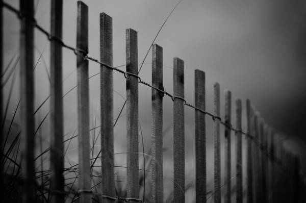 Photograph - Summer Storm Beach Fence Mono by Laura Fasulo
