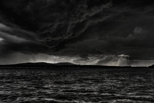 Photograph - Summer Storm Over Lake Wausau In Black And White by Dale Kauzlaric