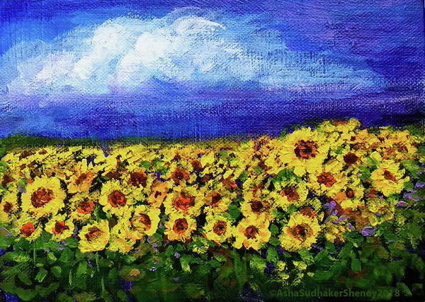 Painting - Summer Sunflowers by Asha Sudhaker Shenoy