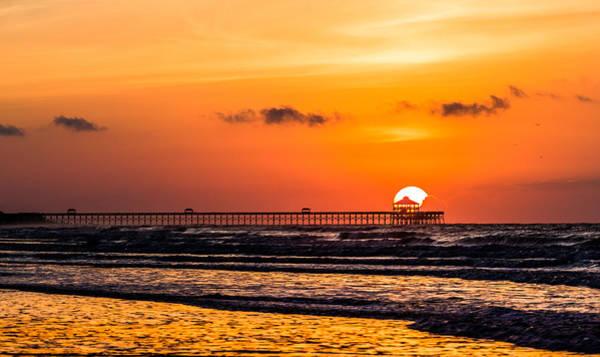 Photograph - Summer Sunrise Folly Beach Pier by Donnie Whitaker