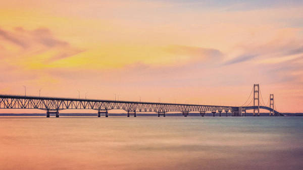 Photograph - Summer Sunset At Mackinac Bridge by Dan Sproul