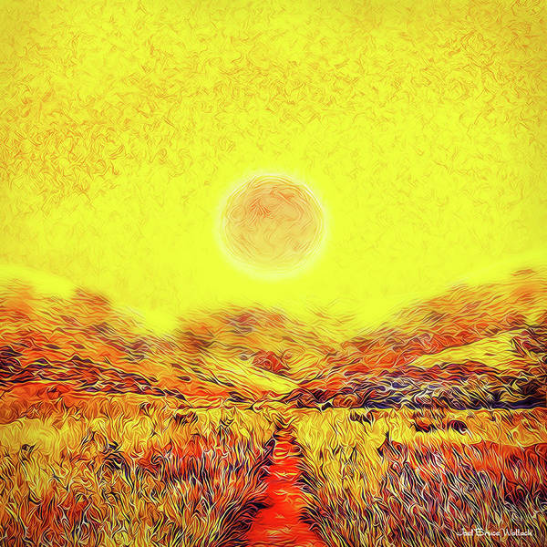 Digital Art - Summer Sunset Field - Trail In Marin California by Joel Bruce Wallach