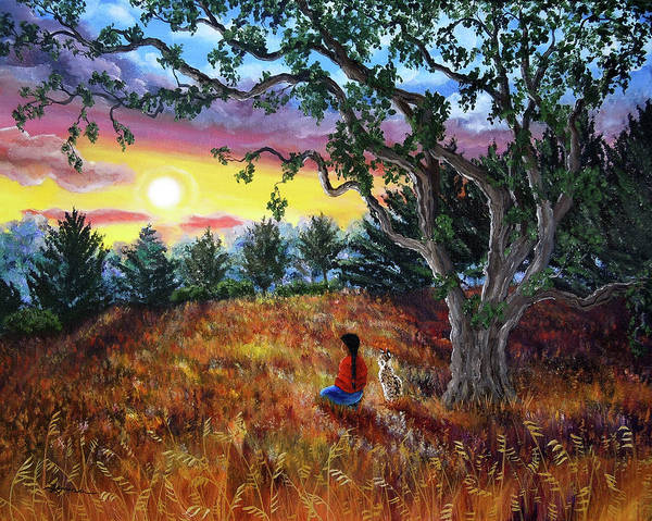 Oak Tree Painting - Summer Sunset Meditation by Laura Iverson