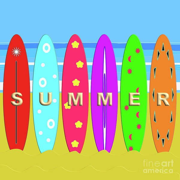 Digital Art - Summer Surf by Barefoot Bodeez Art