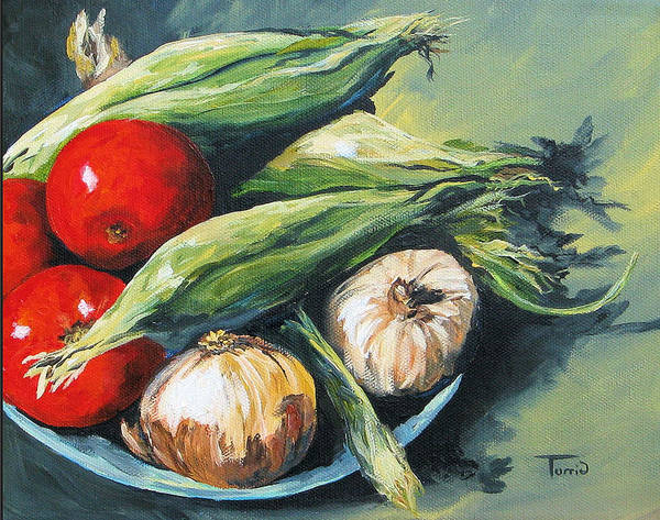 Red Onion Painting - Summer Vegetables  by Torrie Smiley