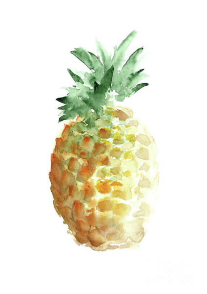 Wall Art - Painting - Pineapple Art Print, Summer Watercolor Painting, Hawaii Fruits  by Joanna Szmerdt