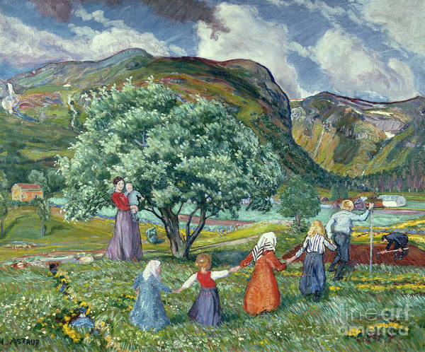 Nikolai Astrup Painting - Summer Wind And Playing Children by Nikolai Astrup