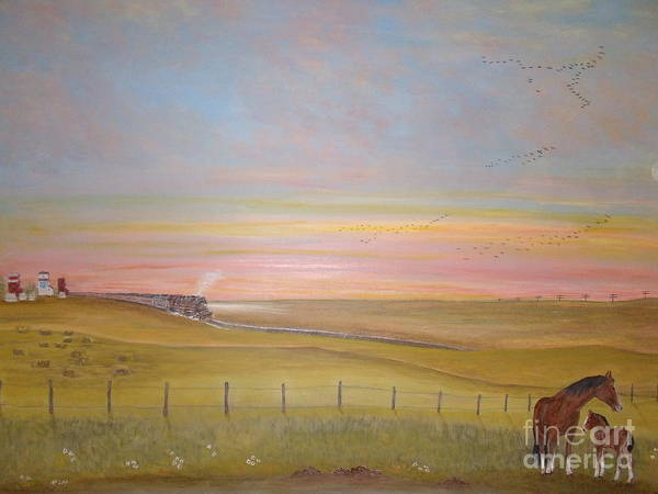 Freight Trains Painting - Summer's Prairie Sunset by Patti Lennox