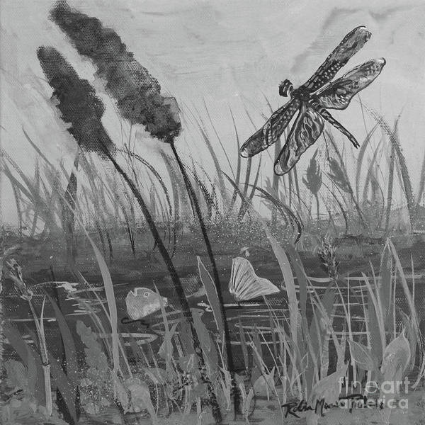 Painting - Summertime Dragonfly Black And White by Robin Maria Pedrero