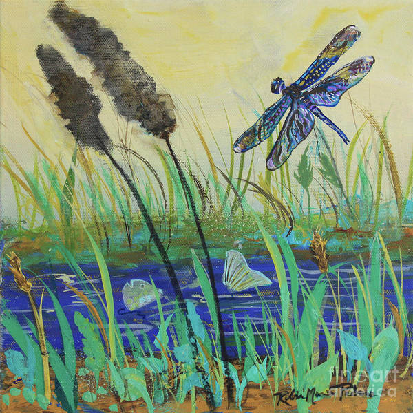 Painting - Summertime Dragonfly by Robin Maria Pedrero