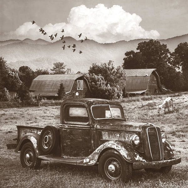 Wall Art - Photograph - Summertime Farm In Antique Sepia  by Debra and Dave Vanderlaan