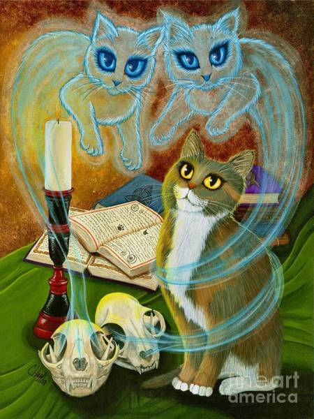 Summoning Old Friends - Ghost Cats Magic Art Print