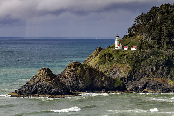 Promontory Point Photograph - Sun After Storm At Heceta Head Lighthouse by Teri Virbickis