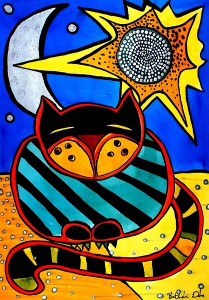 Painting - Sun And Moon - Honourable Cat - Art By Dora Hathazi Mendes by Dora Hathazi Mendes