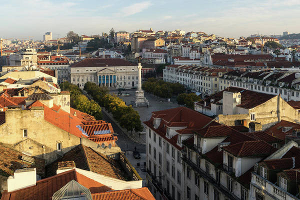 Photograph - Sun And Shade Rosio Lisbon Portugal -  by Georgia Mizuleva