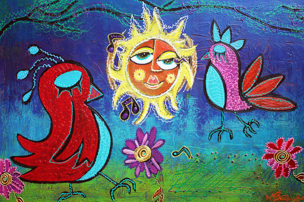 Wall Art - Painting - Sun Birds by Laura Barbosa