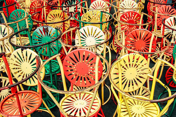 Photograph - Sun Burst Chairs Stacked by Todd Klassy