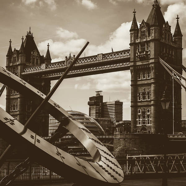 Photograph - Sun Clock With Bridge Tower London In Sepia Tone by Jacek Wojnarowski
