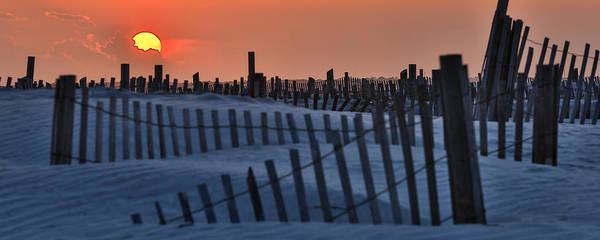 Photograph - Sun Disappears Behind Sand Dunes - Folly Beach Sc by Donnie Whitaker