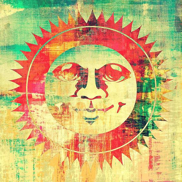Teal Mixed Media - Sun Face by Brandi Fitzgerald