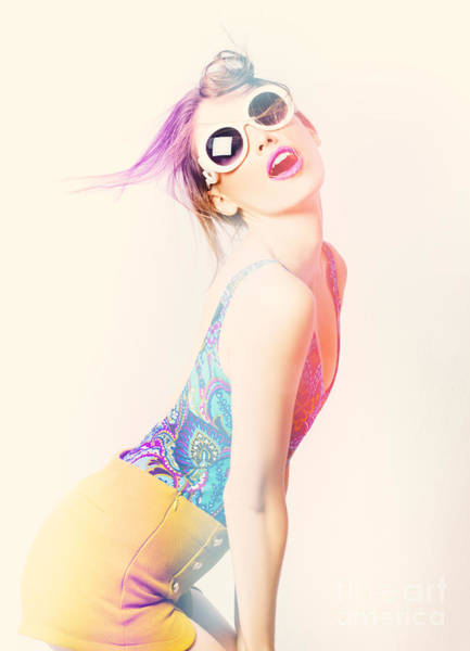 Photograph - Sun Flared 70s Pin-up Girl Posing In Funky Colour by Jorgo Photography - Wall Art Gallery