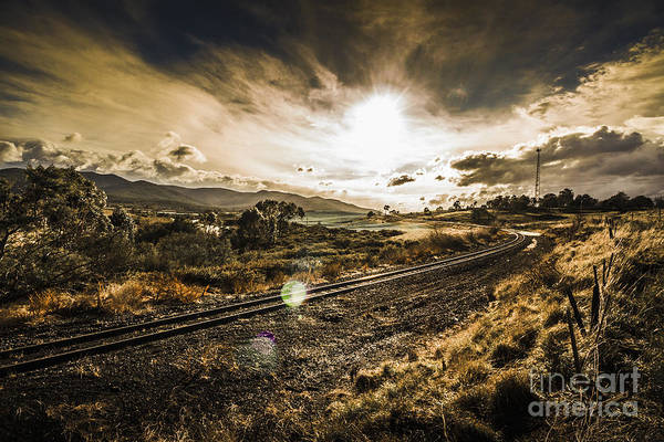 Sun Set Photograph - Sun Flared Railway Track by Jorgo Photography - Wall Art Gallery