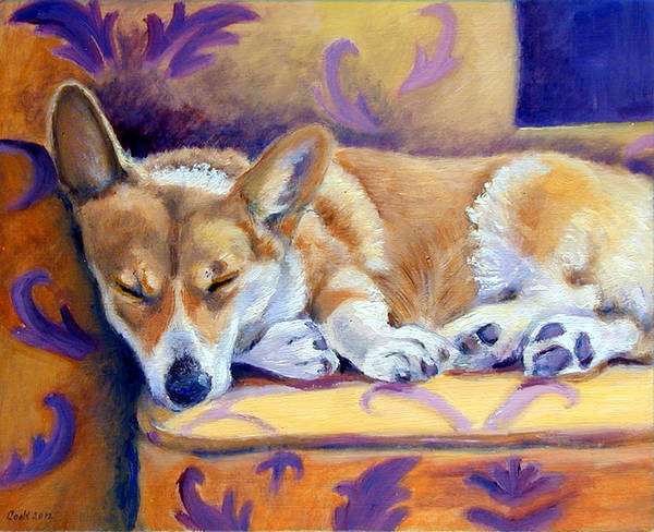 Wall Art - Painting - Sun Glow Nap - Pembroke Welsh Corgi by Lyn Cook